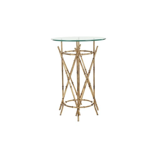 Safavieh Maria Gold Bamboo Glass Top Accent Table