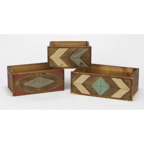 Geometric Wood 3 Piece Decorative Box Set