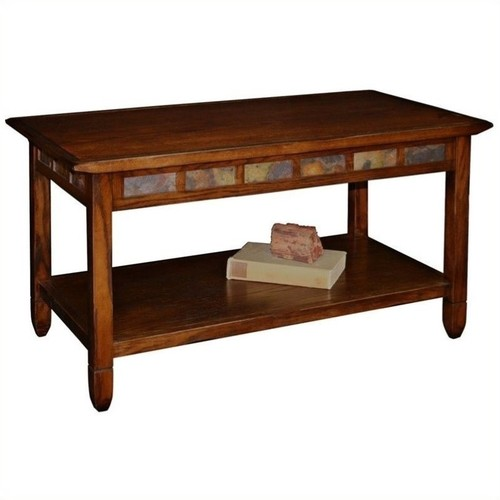 Leick Furniture Rustic Slate Rectangular Coffee Table in Rustic Oak