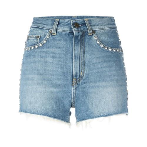 SAINT LAURENT Studded Denim Shorts