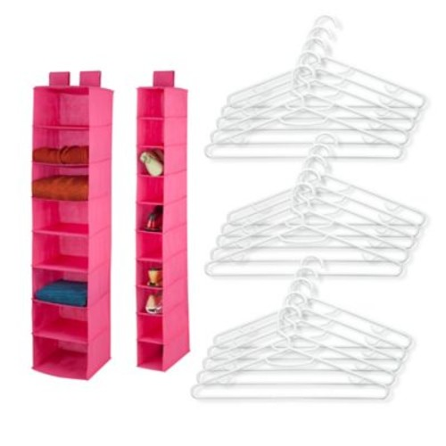 Honey-Can-Do 3-Piece Hanging Room Organizer Set in Pink
