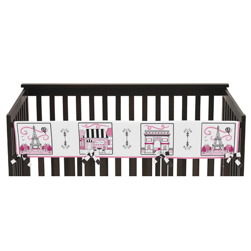 Sweet Jojo Designs Long Crib Rail Guard Cover for the Paris Collection by