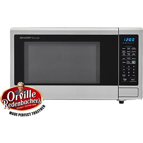 Sharp Carousel 1.4 Cu Ft Countertop Microwave Oven With Orville Redenbacher's Popcorn Preset, Stainless