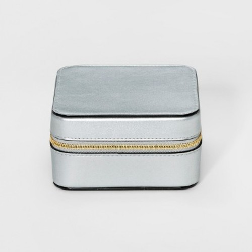 Women's Zip Around Medium Jewelry Box - Merona Silver
