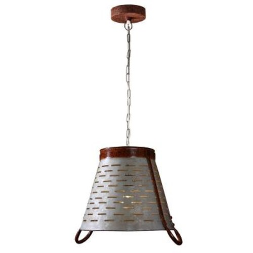 Kenroy Home Olive 1-Light Galvanized Metal Pendant
