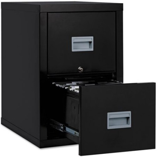 FireKing 2 Drawers Vertical Lockable Filing Cabinet, Black