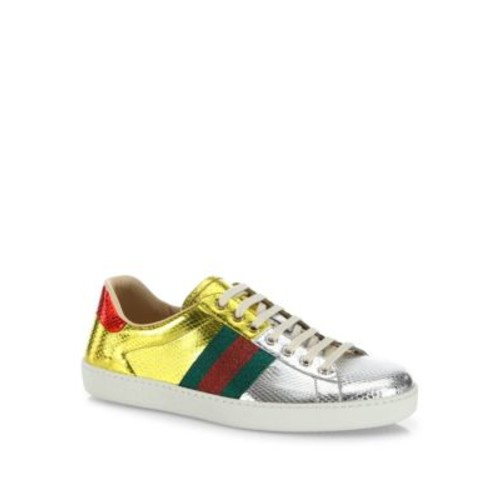 GUCCI Ace Snakeskin Low-Top Sneakers