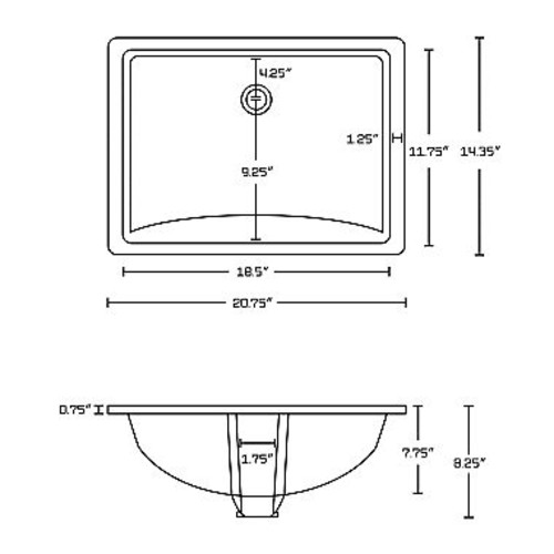 American Imaginations 20.75-in. W x 14.35-in. D Rectangle Undermount Sink In White Color
