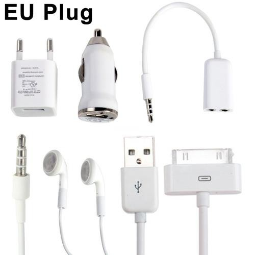 5 in 1 ( EU Plug Home Charger + Car Charger + USB Cable + Audio Splitter + Stereo Headset ) Travel Kit for iPhone 4 & 4S, iPhone 3GS/3G, iPod Touch
