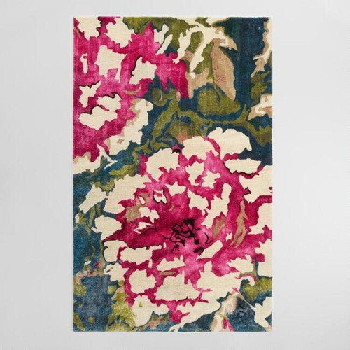 Floral Tufted Viscose and Wool Lombardy Area Rug