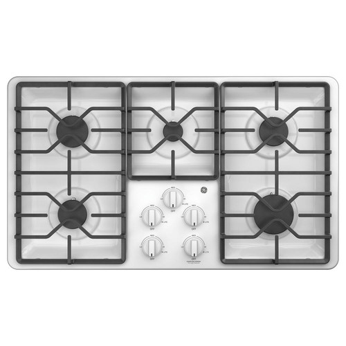 GE 36 in. Built-In Gas Cooktop in White with 5 Burners including Power Boil Burners