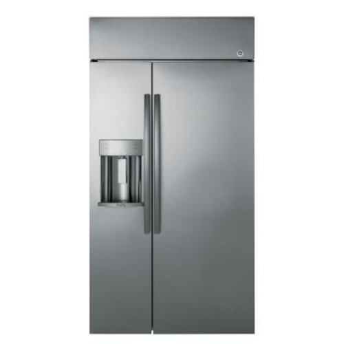 GE Profile 42 in. W 24.3 cu. ft. Built-In Side by Side Refrigerator in Stainless Steel