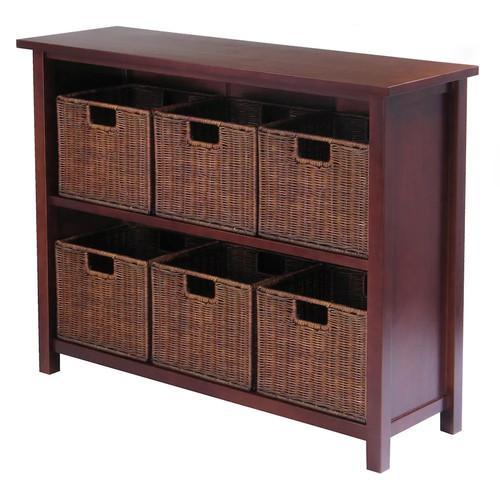 Winsome Wood Milan Wood 3 Tier Open Cabinet and 6 Rattan Baskets in Walnut Finish [Walnut, antique walnut baskets]