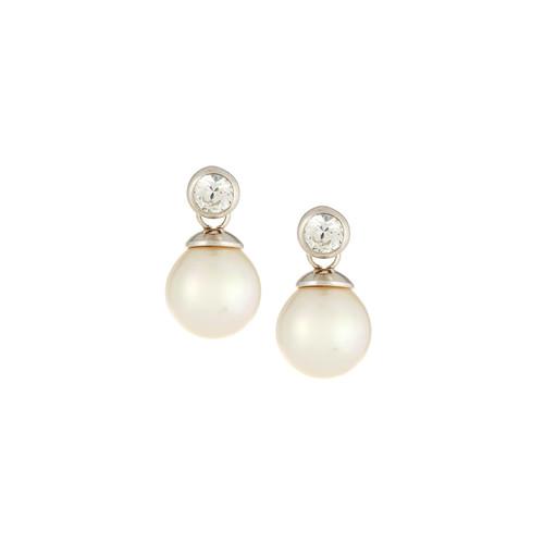 Majorica You & I Cubic Zirconia & Pearl Stud Earrings