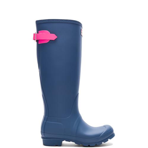 Hunter Original Back Adjustable Boot in Dark Earth Blue & Ion Pink