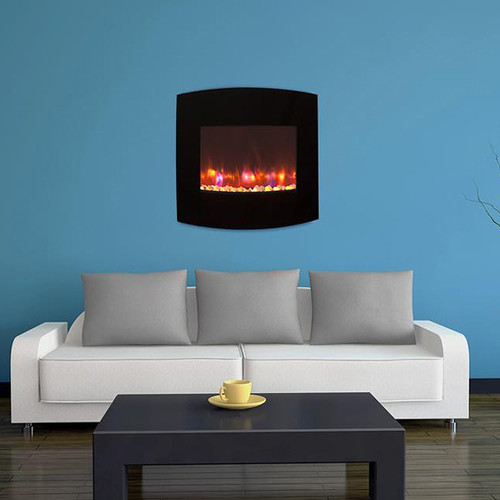 Outdoor Greatroom Company 38.25-in W 5,100-BTU Black Metal Wall-Mount Fan-Forced Electric Fireplace with Thermostat and Remote Control