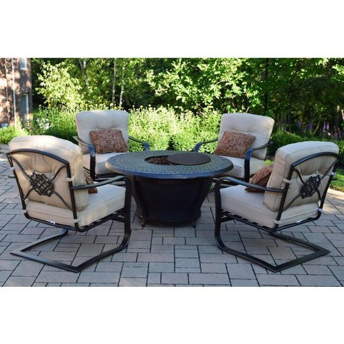 5-Piece Round Cast Aluminum Gas Fire Pit Set w/ Cream Patio Spring Chairs