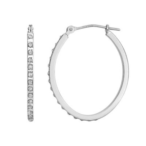 Diamond Fascination 14K White Gold Diamond Accent Oval Hoop Earrings