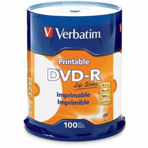 Verbatim DVD-R 4.7GB 16X Life Series White Inkjet Printable, Hub Printable - 100 Pack Spindle