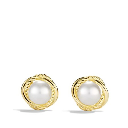 Infinity Earrings with Pearls in G