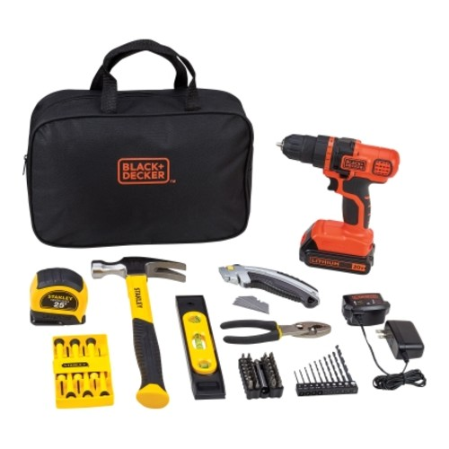 Black+Decker- Stanley 70 pc. Cordless Drill/Driver Kit Lithium-Ion 20 volts 0-650 rpm
