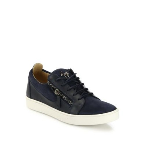 Zippered Suede & Leather Low-Top Sneakers