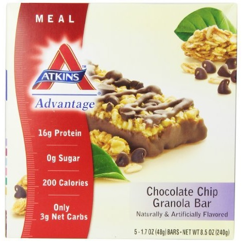 Atkins Meal Bar, Chocolate Chip Granola, 5 Bars