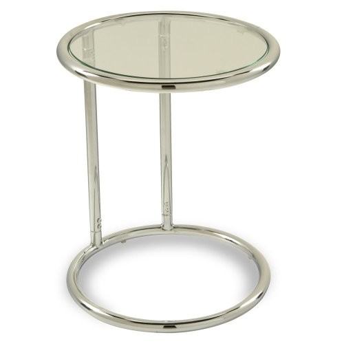 AVE SIX Yield Modern Round Table with Chromed Steel Base, Clear Glass Top [Round Table]