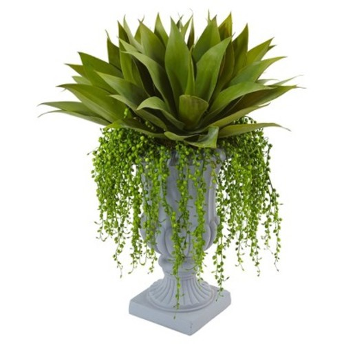 Agave and Senecio Succulent Arrangement Green - Nearly Natural