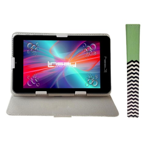 LINSAY 7 inch Quad Core 1280 x 800 IPS Screen Tablet with Green Lines Leather Protective Case