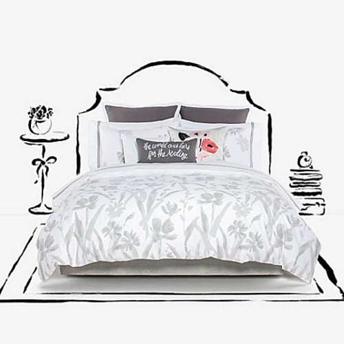 kate spade new york Brushstroke Garden King Comforter Set in Platinum