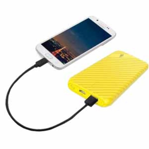 LAX 4000mAh Ultra-Compact External Battery Power Pack for iPhone, Samsung Galaxy and More - Yellow