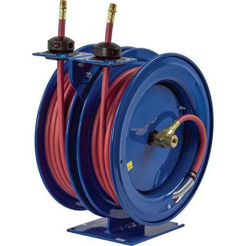Coxreels Dual Air Hose Reel  With 3/8in. x 50ft. PVC Hoses, Max. 300 PSI, Model# C-LP-350-350