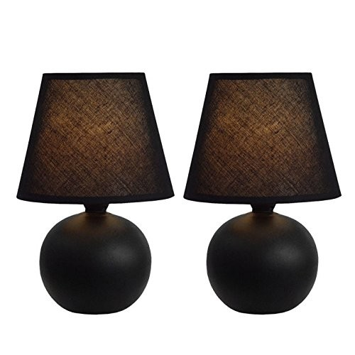 Simple Designs LT2008-ORG-2PK Mini Ceramic Globe Table Lamp 2 Pack Set, Orange [Orange]