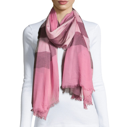 BURBERRY Sheer Mega Check Scarf, Rose Check