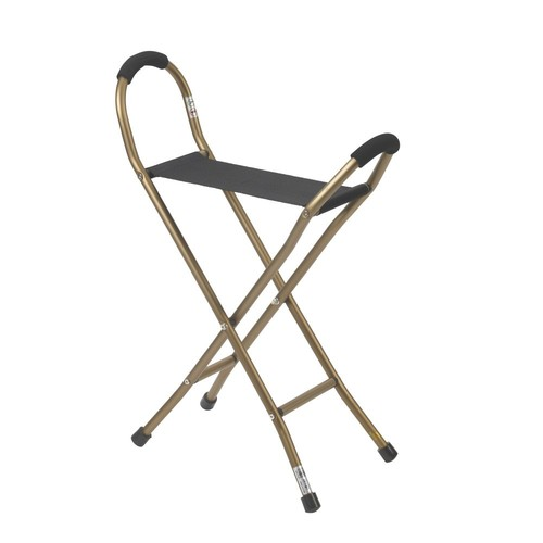 Drive Medical Folding Lightweight Cane with Sling Style Seat, Bronze with Black