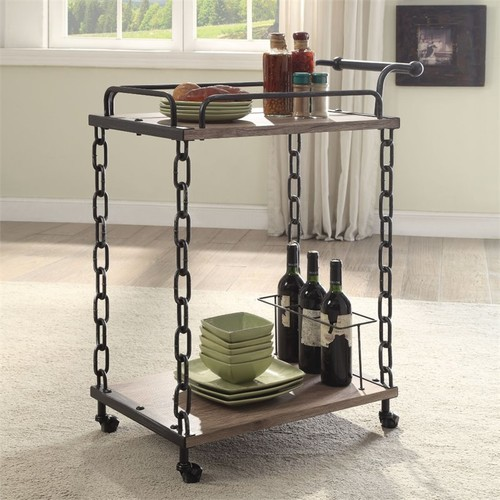 Acme Furniture Jodie Rustic Oak & Black Serving Cart