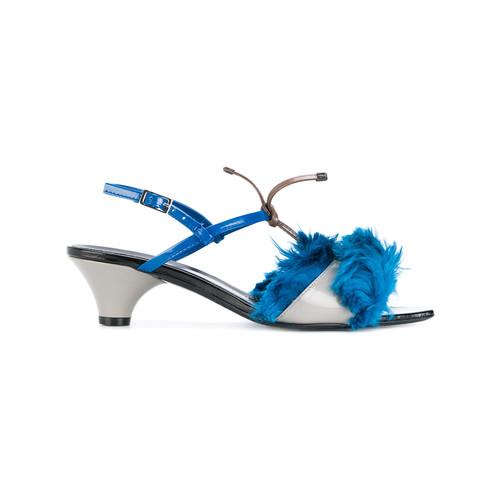Llama fur trim sandals