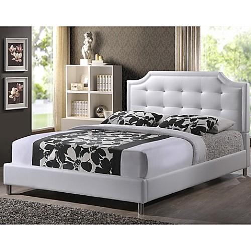 Carlotta Designer Full Bed with Upholstered Headboard in White
