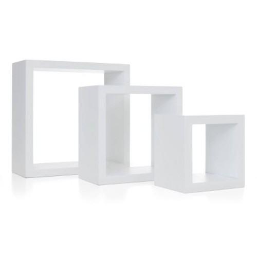 AZ Home and Gifts nexxt Cubbi 9 in. MDF Wall Shelf in White (3-Piece)