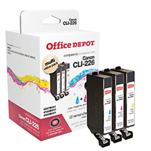 Office Depot Brand ODCLI226CMY (Canon CLI-226) Remanufactured Cyan/Magenta/Yellow Ink Cartridges, Pack Of 3