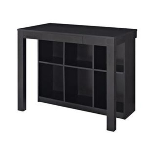 Altra Furniture 9394096 Altra Furniture Parsons Style Desk with Drawer and Bookcase Black Oak Finish