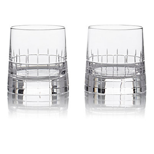Christofle Set Of 2 Graphik Double Old Fashioned Glasses