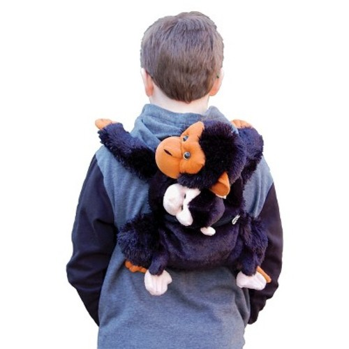 Child-Size Momma & Baby Chimpanzee Soft Plush Backpack With Storage Pouch