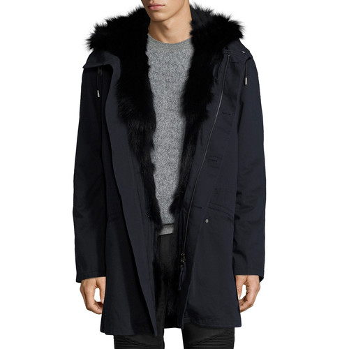 YVES SALOMON Long Classic Parka W/Fox Fur Lining, Navy