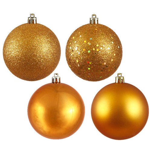 Antique Gold Plastic 4 Finish 1.6-inch Assorted Ornaments (Pack of 96)