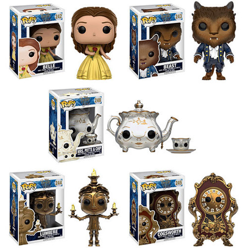 Funko POP Disney Beauty and the Beast Collectors Set; Belle- Beast- Lumiere- Cogsworth- Mrs. Potts &Chip