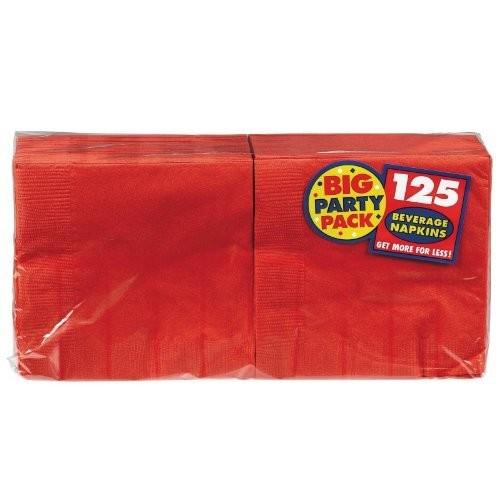 Big Party Pack Beverage Napkins 25cm X 25cm, 125/Pkg, Apple Red [Apple Red]