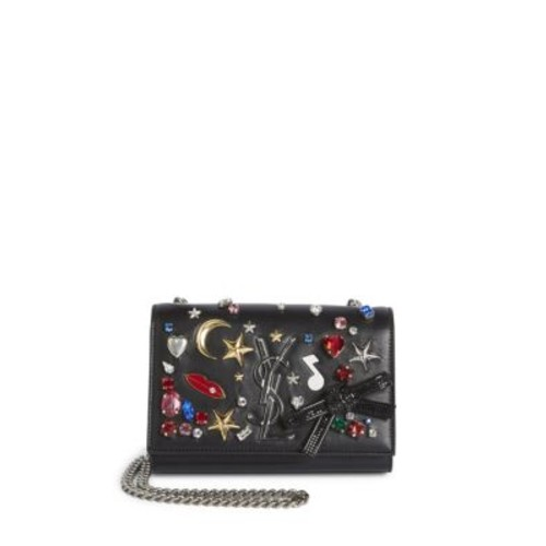 SAINT LAURENT Kate Monogram Small Embellished Leather Chain Shoulder Bag