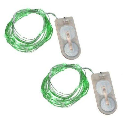 Lumabase 40-Light Mini Battery Operated Waterproof String Lights in Green (2-Count)